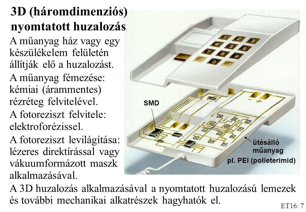 ET16: 7 A műanyag ház vagy egy készülékelem felületén állítják elő a huzalozást.