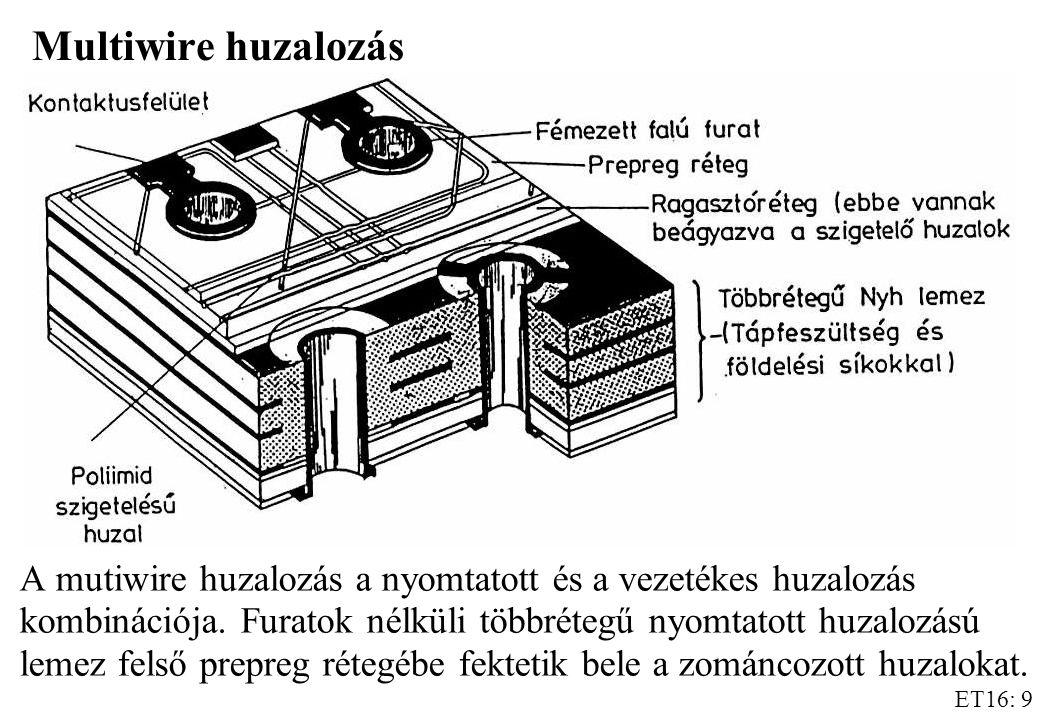 ET16: 9 Multiwire huzalozás A mutiwire huzalozás a nyomtatott és a vezetékes huzalozás kombinációja.