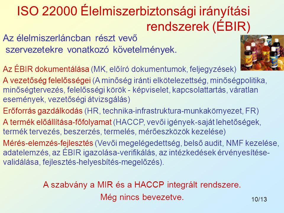 10/13 Az élelmiszerláncban részt vevő szervezetekre vonatkozó követelmények. ISO 22000 Élelmiszerbiztonsági irányítási rendszerek (ÉBIR) Az ÉBIR dokum