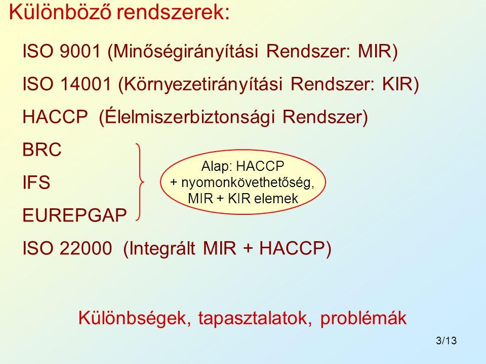 3/13 Különbségek, tapasztalatok, problémák Különböző rendszerek: ISO 9001 (Minőségirányítási Rendszer: MIR) ISO 14001 (Környezetirányítási Rendszer: K