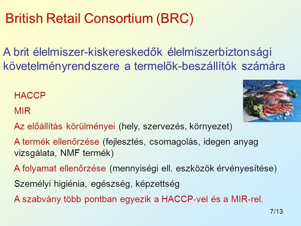 7/13 A brit élelmiszer-kiskereskedők élelmiszerbiztonsági követelményrendszere a termelők-beszállítók számára British Retail Consortium (BRC) HACCP MI