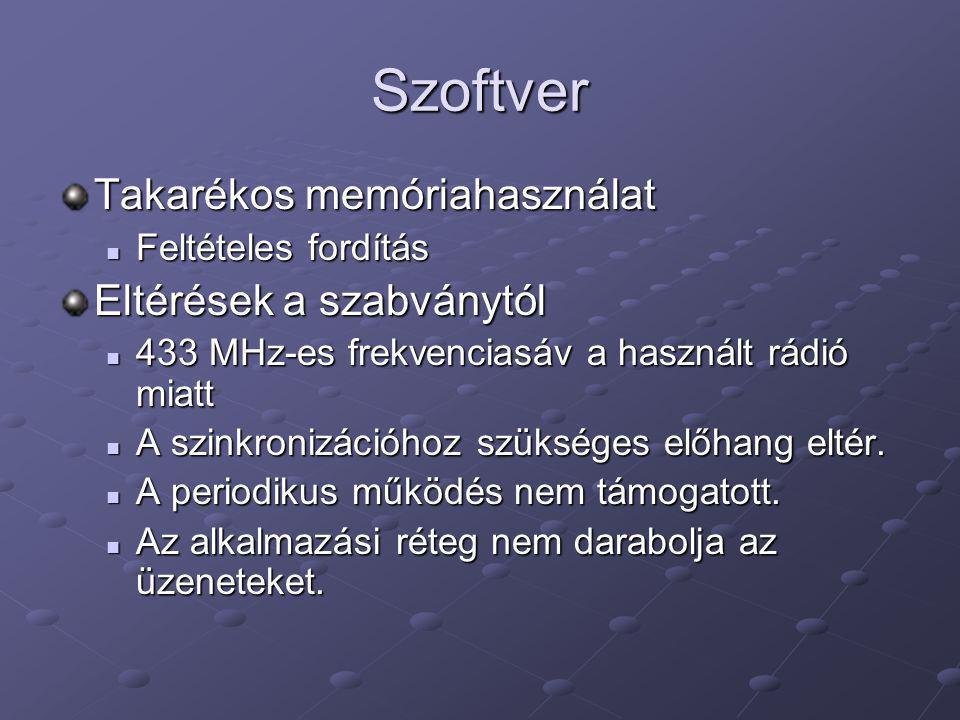 Szoftver Megvalósított funkciók Csak egylépéses hálózat kialakítása lehetséges.