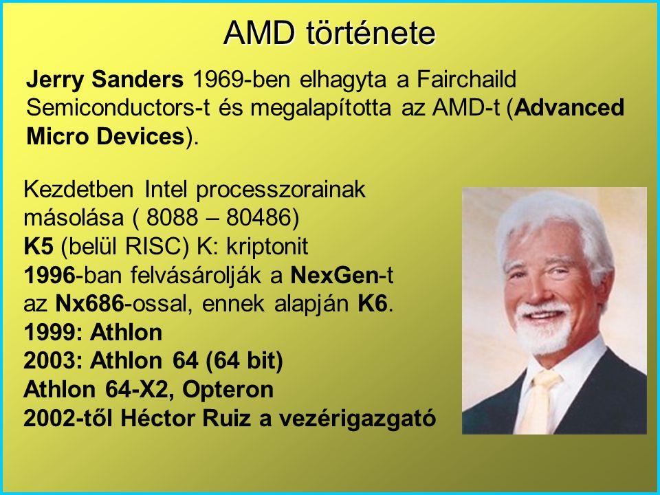 AMD története Jerry Sanders 1969-ben elhagyta a Fairchaild Semiconductors-t és megalapította az AMD-t (Advanced Micro Devices).
