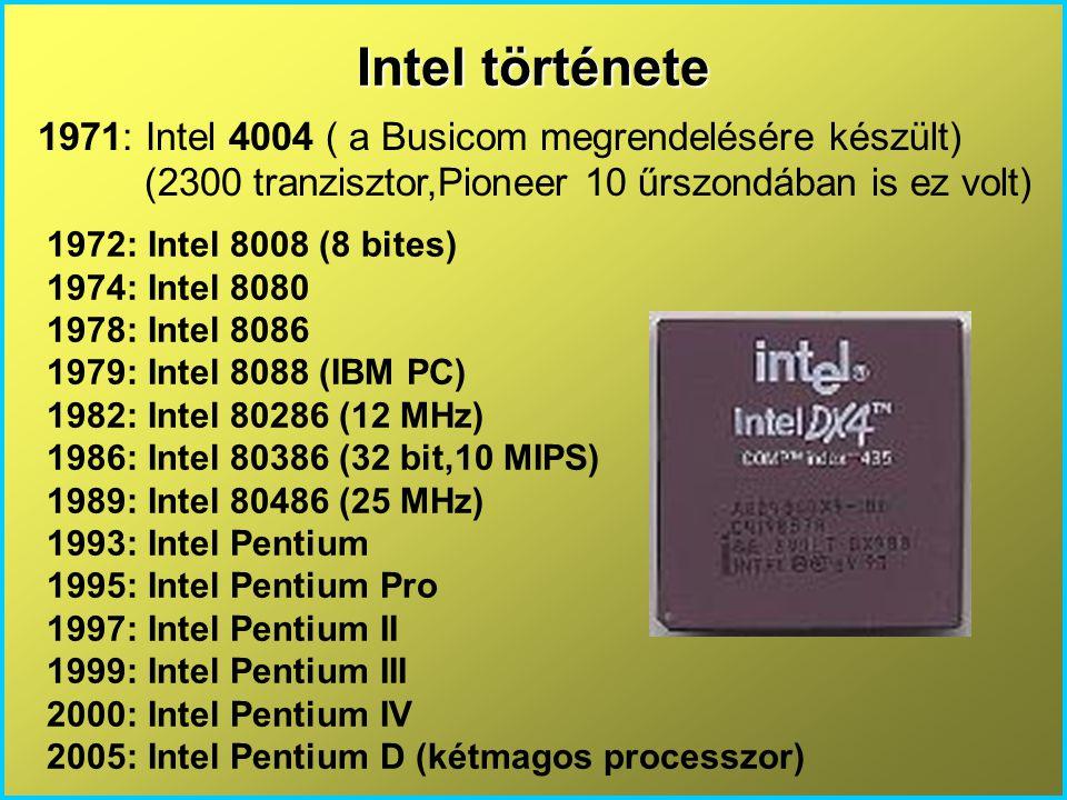 Intel története 1971: Intel 4004 ( a Busicom megrendelésére készült) (2300 tranzisztor,Pioneer 10 űrszondában is ez volt) 1972: Intel 8008 (8 bites) 1974: Intel 8080 1978: Intel 8086 1979: Intel 8088 (IBM PC) 1982: Intel 80286 (12 MHz) 1986: Intel 80386 (32 bit,10 MIPS) 1989: Intel 80486 (25 MHz) 1993: Intel Pentium 1995: Intel Pentium Pro 1997: Intel Pentium II 1999: Intel Pentium III 2000: Intel Pentium IV 2005: Intel Pentium D (kétmagos processzor)