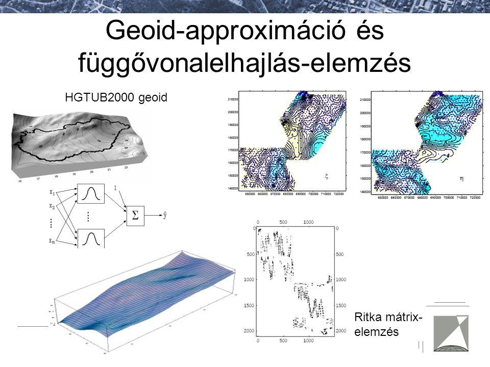 Fotogrammetria és Térinformatika Tanszék Geoid-approximáció és függővonalelhajlás-elemzés HGTUB2000 geoid Ritka mátrix- elemzés