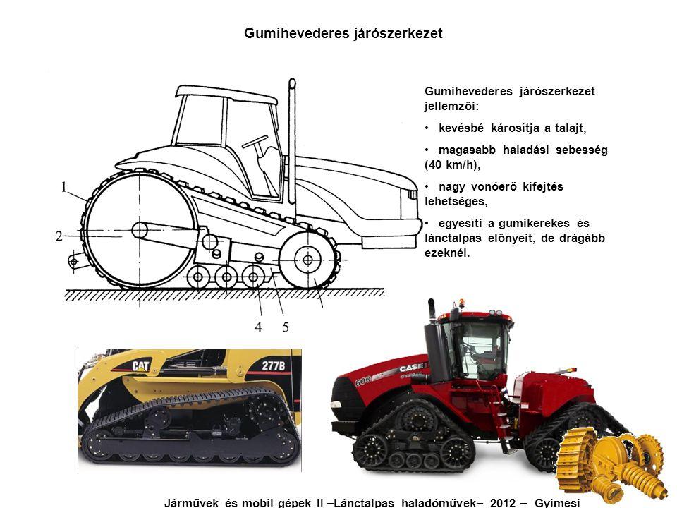 Gumihevederes járószerkezet jellemzői: kevésbé károsítja a talajt, magasabb haladási sebesség (40 km/h), nagy vonóerő kifejtés lehetséges, egyesíti a