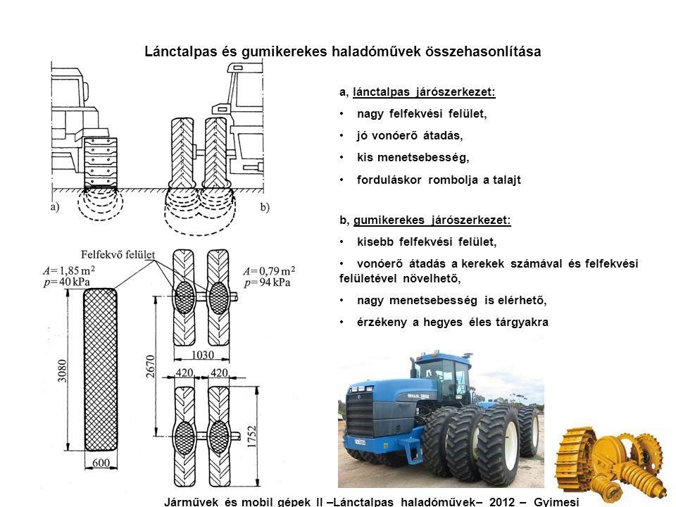 Lánctalpas járószerkezet felépítése Oválhajtás esetén Járművek és mobil gépek II –Lánctalpas haladóművek– 2012 – Gyimesi