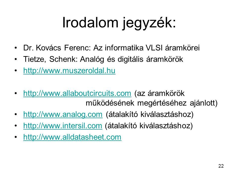 22 Irodalom jegyzék: Dr. Kovács Ferenc: Az informatika VLSI áramkörei Tietze, Schenk: Analóg és digitális áramkörök http://www.muszeroldal.hu http://w