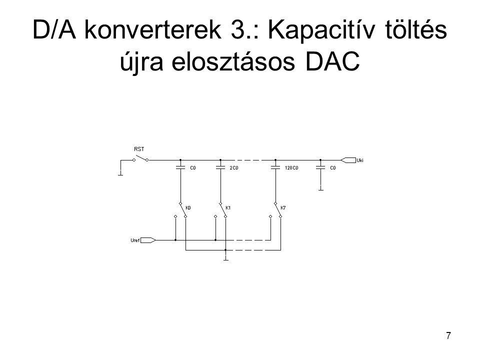 7 D/A konverterek 3.: Kapacitív töltés újra elosztásos DAC