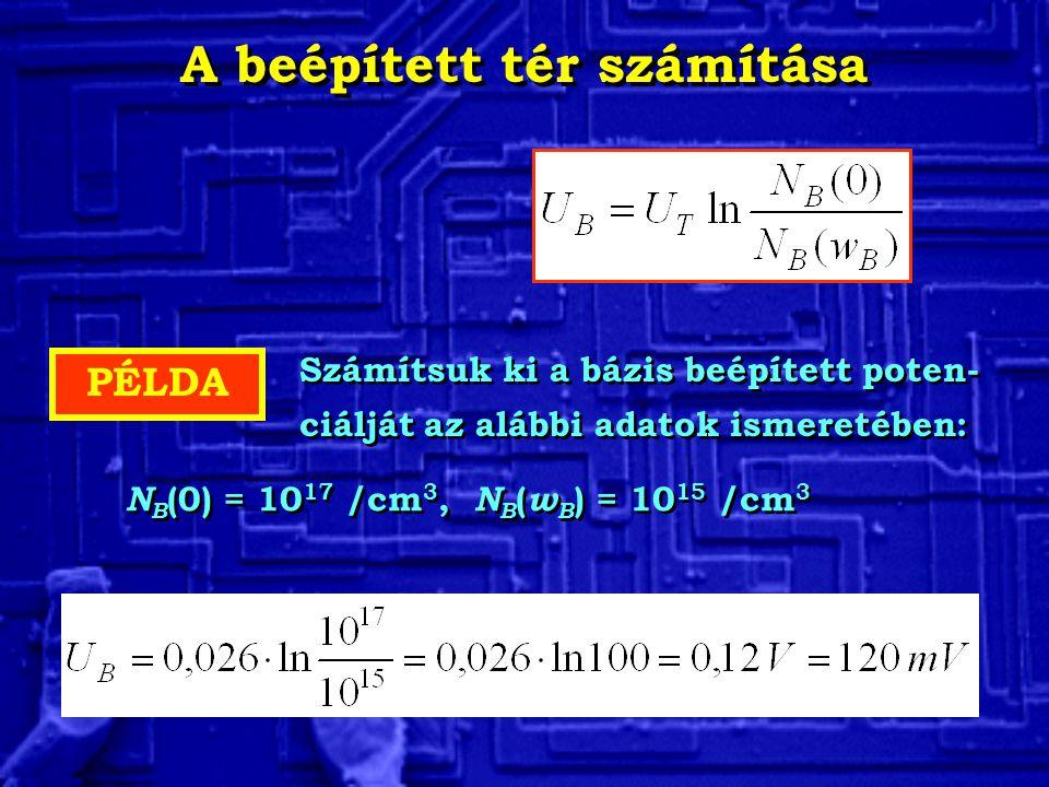 PÉLDA Számítsuk ki a bázis beépített poten- ciálját az alábbi adatok ismeretében: Számítsuk ki a bázis beépített poten- ciálját az alábbi adatok ismer