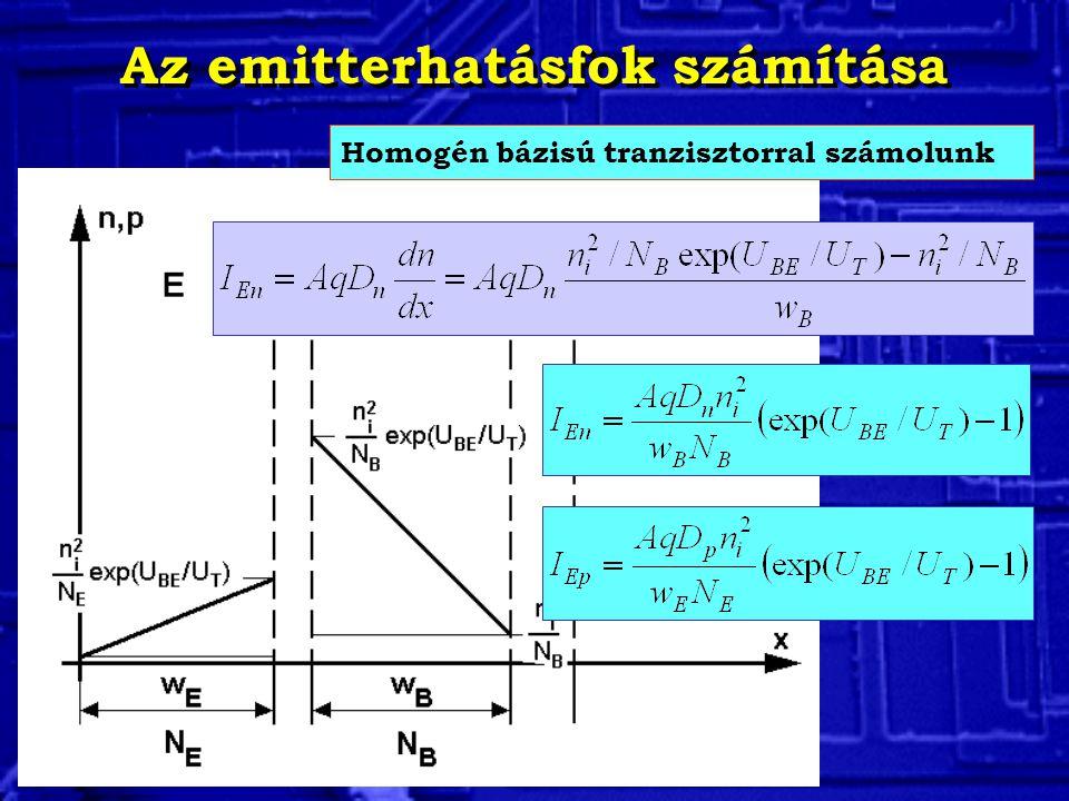 Az emitterhatásfok számítása Homogén bázisú tranzisztorral számolunk