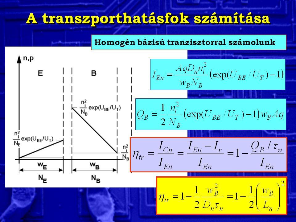 A transzporthatásfok számítása Homogén bázisú tranzisztorral számolunk