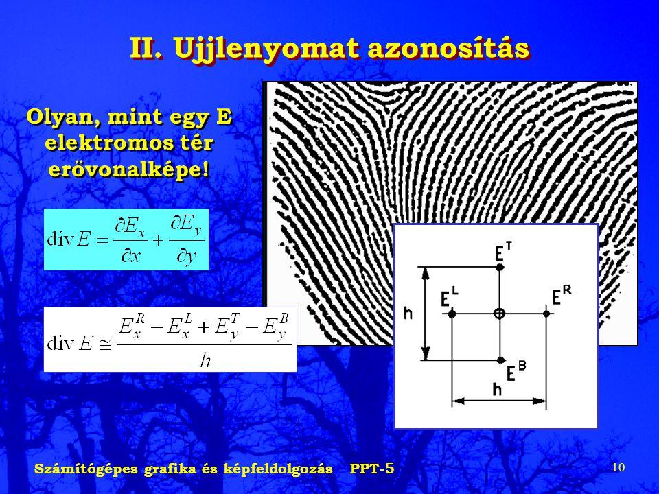 Számítógépes grafika és képfeldolgozás PPT-5 10 II. Ujjlenyomat azonosítás Olyan, mint egy E elektromos tér erővonalképe!