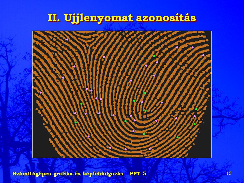 Számítógépes grafika és képfeldolgozás PPT-5 15 II. Ujjlenyomat azonosítás