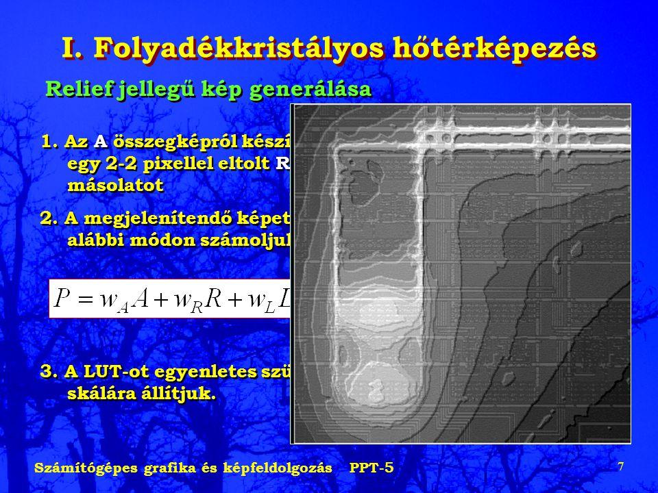 Számítógépes grafika és képfeldolgozás PPT-5 7 I. Folyadékkristályos hőtérképezés Relief jellegű kép generálása 1. Az A összegképról készítünk egy 2-2