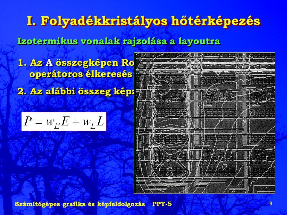 Számítógépes grafika és képfeldolgozás PPT-5 8 I. Folyadékkristályos hőtérképezés Izotermikus vonalak rajzolása a layoutra 1. Az A összegképen Roberts