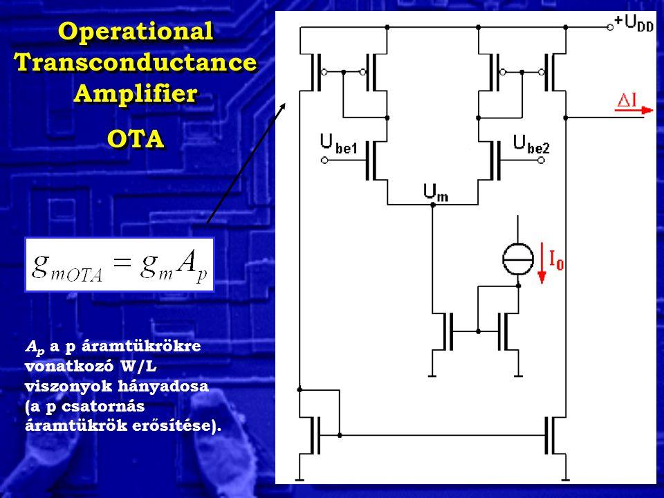Operational Transconductance Amplifier OTA Operational Transconductance Amplifier OTA A p a p áramtükrökre vonatkozó W/L viszonyok hányadosa (a p csatornás áramtükrök erősítése).
