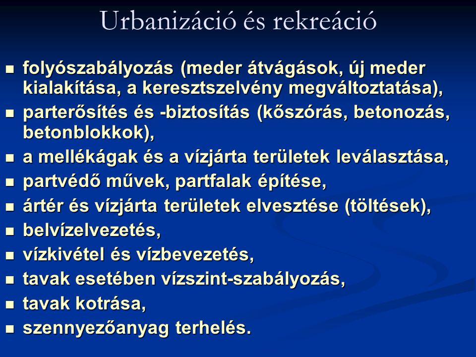 Urbanizáció és rekreáció folyószabályozás (meder átvágások, új meder kialakítása, a keresztszelvény megváltoztatása), folyószabályozás (meder átvágáso