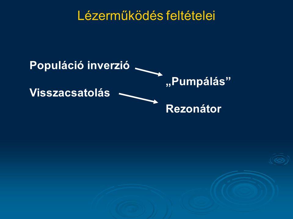 """Lézerműködés feltételei Populáció inverzió Visszacsatolás """"Pumpálás Rezonátor"""