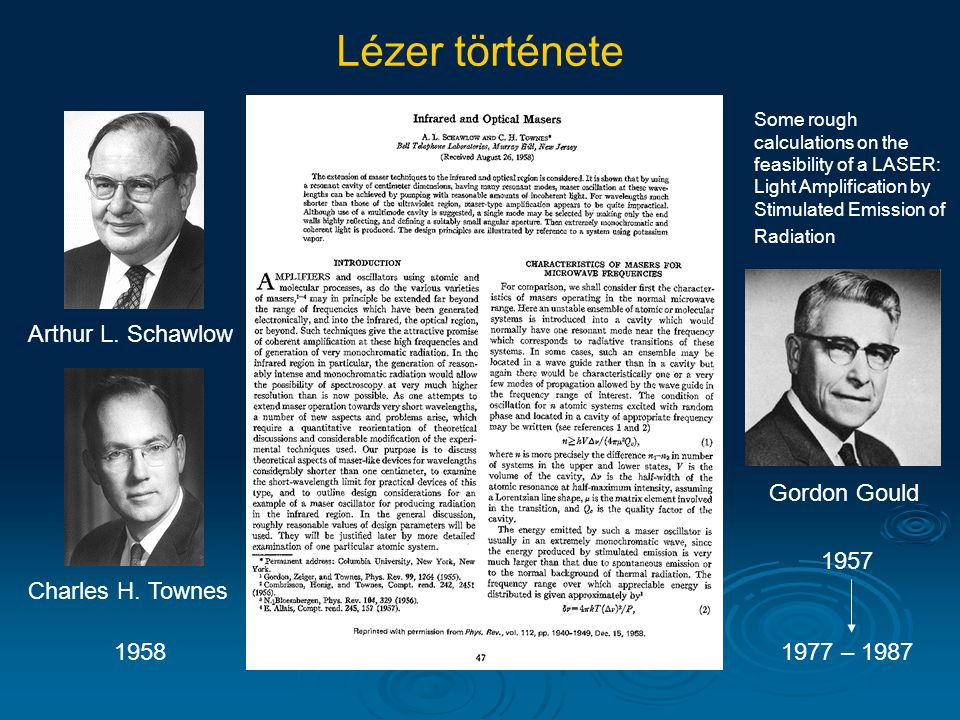 Arthur L. Schawlow Charles H. Townes Lézer története Gordon Gould 1958 1957 1977 – 1987 Some rough calculations on the feasibility of a LASER: Light A