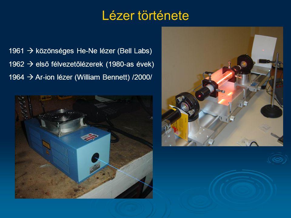1961  közönséges He-Ne lézer (Bell Labs) 1962  első félvezetőlézerek (1980-as évek) Lézer története 1964  Ar-ion lézer (William Bennett) /2000/