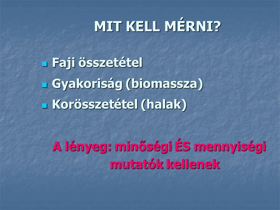 MIT KELL MÉRNI? Faji összetétel Faji összetétel Gyakoriság (biomassza) Gyakoriság (biomassza) Korösszetétel (halak) Korösszetétel (halak) A lényeg: mi