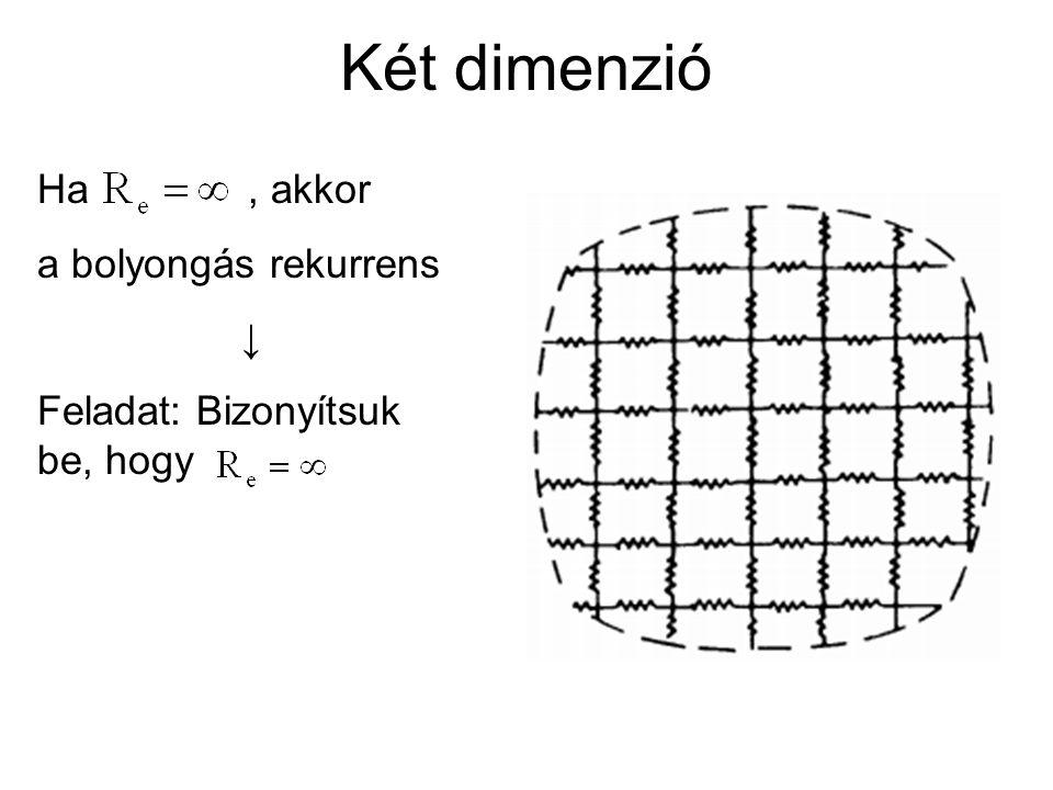 Két dimenzió Ha, akkor a bolyongás rekurrens ↓ Feladat: Bizonyítsuk be, hogy