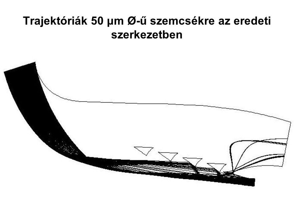 Trajektóriák 50 μm Ø-ű szemcsékre az eredeti szerkezetben