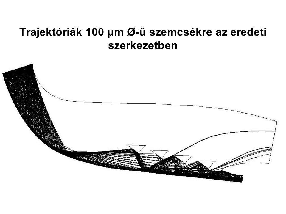 Trajektóriák 100 μm Ø-ű szemcsékre az eredeti szerkezetben