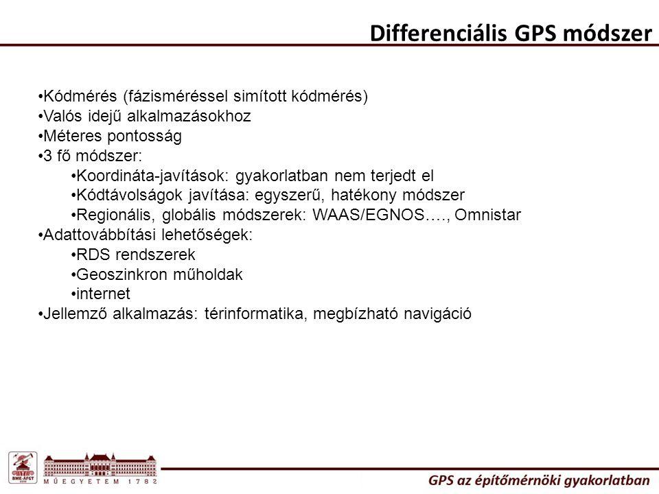Differenciális GPS módszer Kódmérés (fázisméréssel simított kódmérés) Valós idejű alkalmazásokhoz Méteres pontosság 3 fő módszer: Koordináta-javítások: gyakorlatban nem terjedt el Kódtávolságok javítása: egyszerű, hatékony módszer Regionális, globális módszerek: WAAS/EGNOS…., Omnistar Adattovábbítási lehetőségek: RDS rendszerek Geoszinkron műholdak internet Jellemző alkalmazás: térinformatika, megbízható navigáció