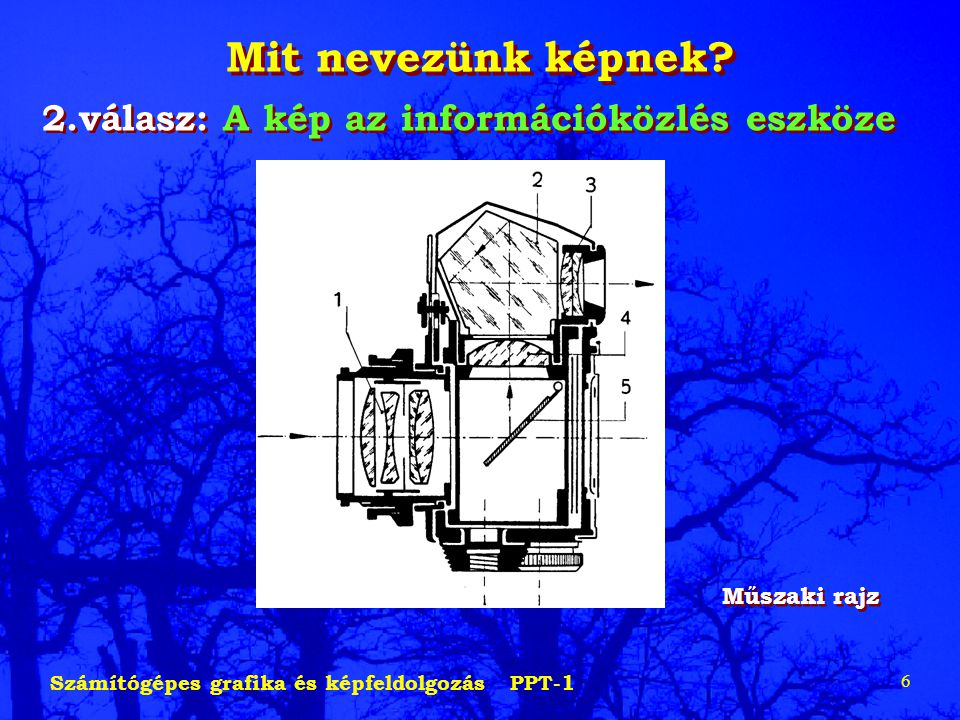 Számítógépes grafika és képfeldolgozás PPT-1 6 Mit nevezünk képnek? 2.válasz: A kép az információközlés eszköze Műszaki rajz