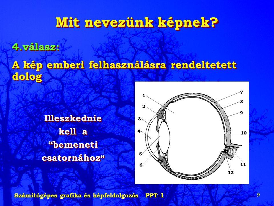 Számítógépes grafika és képfeldolgozás PPT-1 9 Mit nevezünk képnek? 4.válasz: A kép emberi felhasználásra rendeltetett dolog 4.válasz: A kép emberi fe