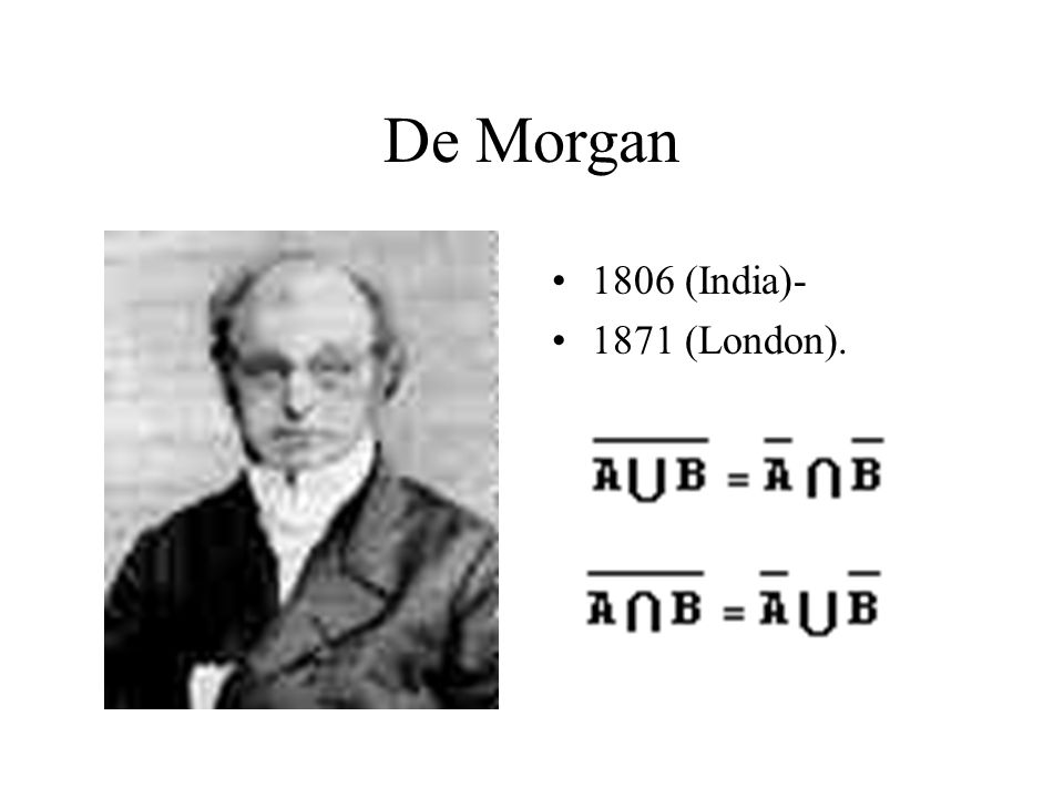 De Morgan 1806 (India)- 1871 (London).