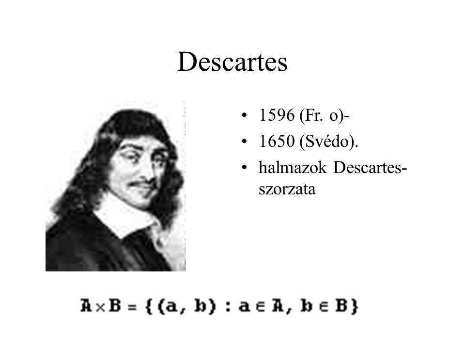 Descartes 1596 (Fr. o)- 1650 (Svédo). halmazok Descartes- szorzata