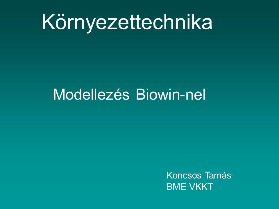 Modellezés Biowin-nel Környezettechnika Koncsos Tamás BME VKKT