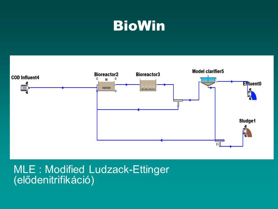 BioWin MLE : Modified Ludzack-Ettinger (elődenitrifikáció)