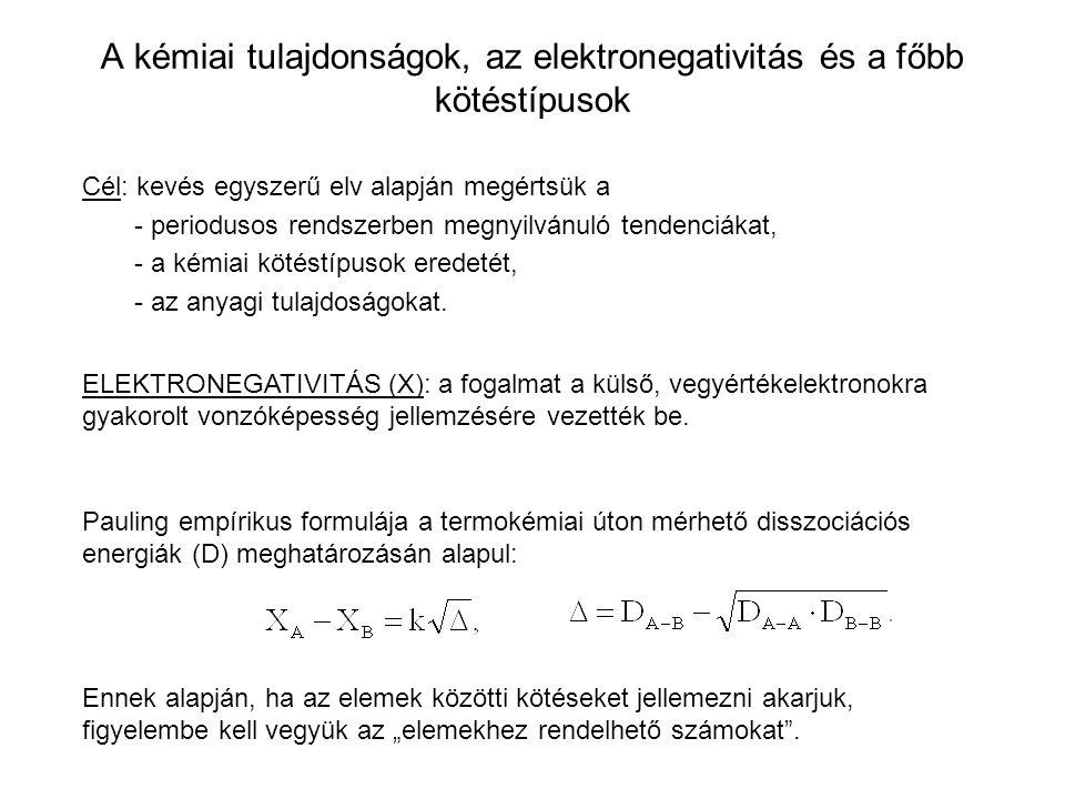 A kémiai tulajdonságok, az elektronegativitás és a főbb kötéstípusok Cél: kevés egyszerű elv alapján megértsük a - periodusos rendszerben megnyilvánul
