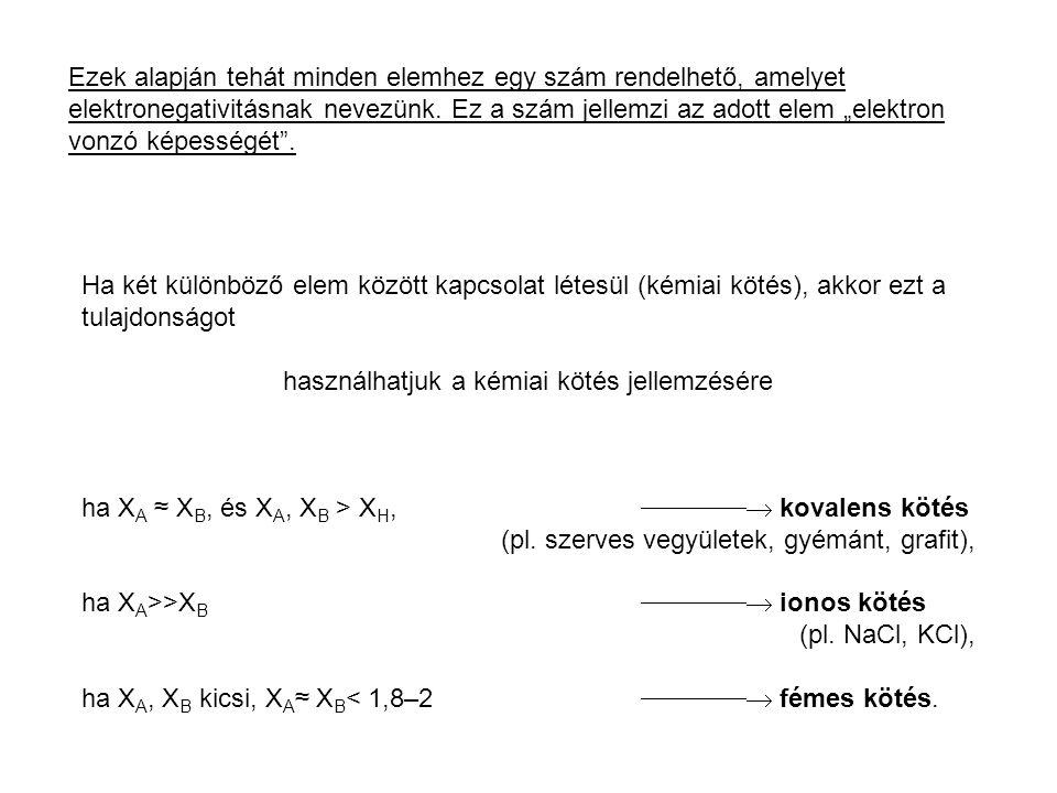 """Ezek alapján tehát minden elemhez egy szám rendelhető, amelyet elektronegativitásnak nevezünk. Ez a szám jellemzi az adott elem """"elektron vonzó képess"""