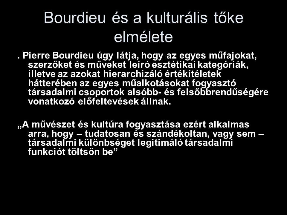 Bourdieu és a kulturális tőke elmélete. Pierre Bourdieu úgy látja, hogy az egyes műfajokat, szerzőket és műveket leíró esztétikai kategóriák, illetve