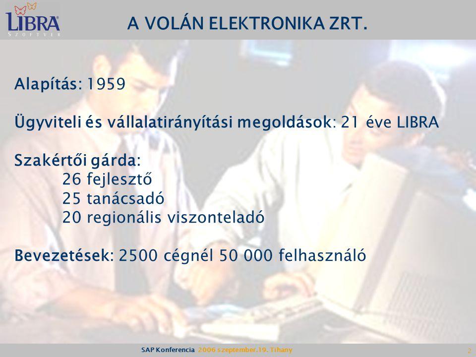SAP Konferencia 2006 szeptember.19.Tihany 2 A VOLÁN ELEKTRONIKA ZRT.