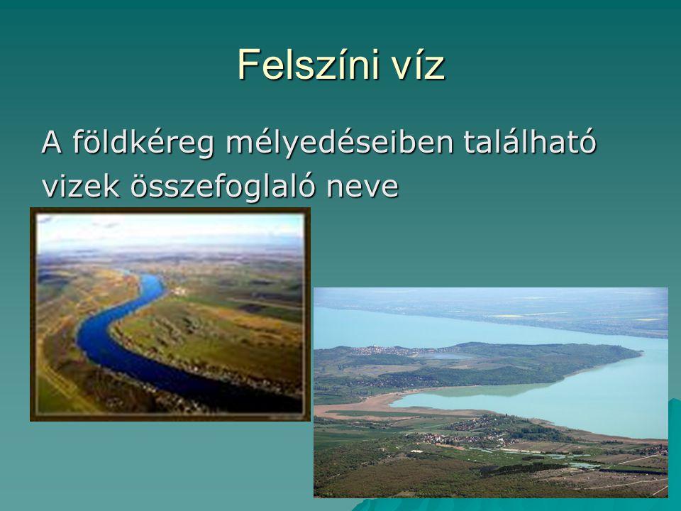 Felszíni víz A földkéreg mélyedéseiben található vizek összefoglaló neve