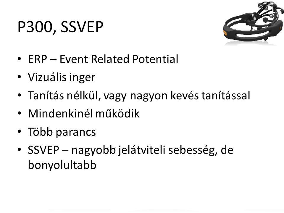 P300, SSVEP ERP – Event Related Potential Vizuális inger Tanítás nélkül, vagy nagyon kevés tanítással Mindenkinél működik Több parancs SSVEP – nagyobb