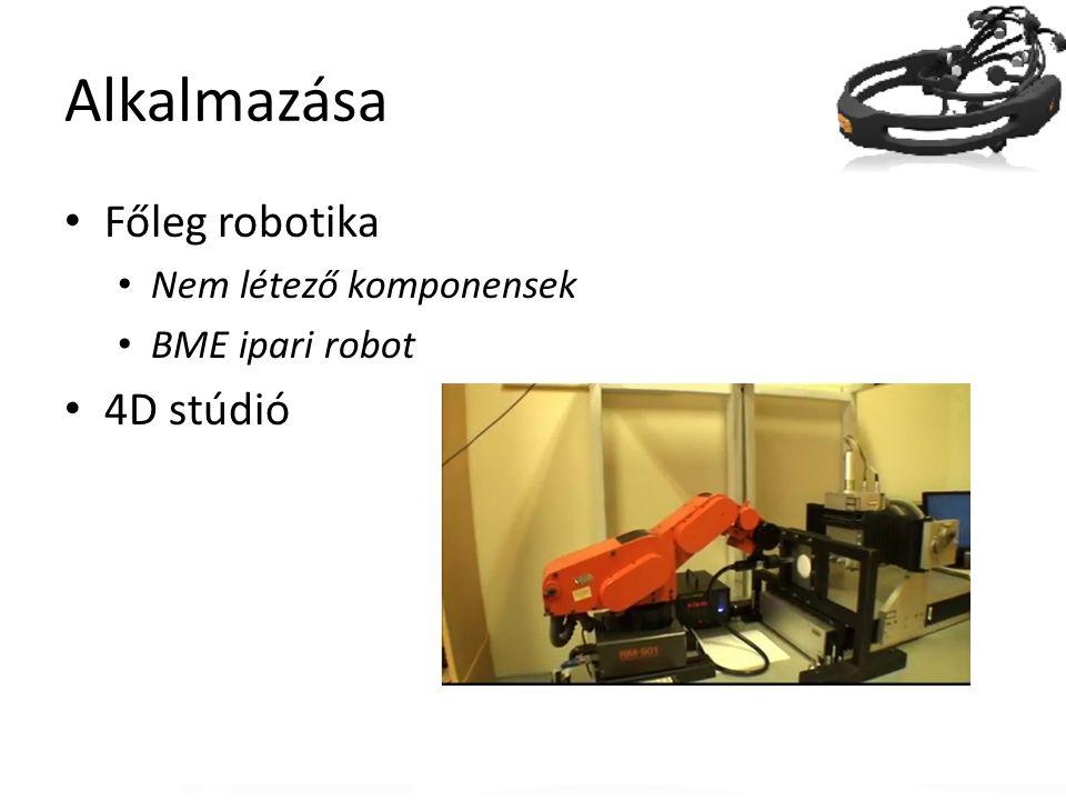 Alkalmazása Főleg robotika Nem létező komponensek BME ipari robot 4D stúdió