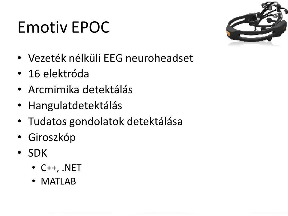 Emotiv EPOC Vezeték nélküli EEG neuroheadset 16 elektróda Arcmimika detektálás Hangulatdetektálás Tudatos gondolatok detektálása Giroszkóp SDK C++,.NE