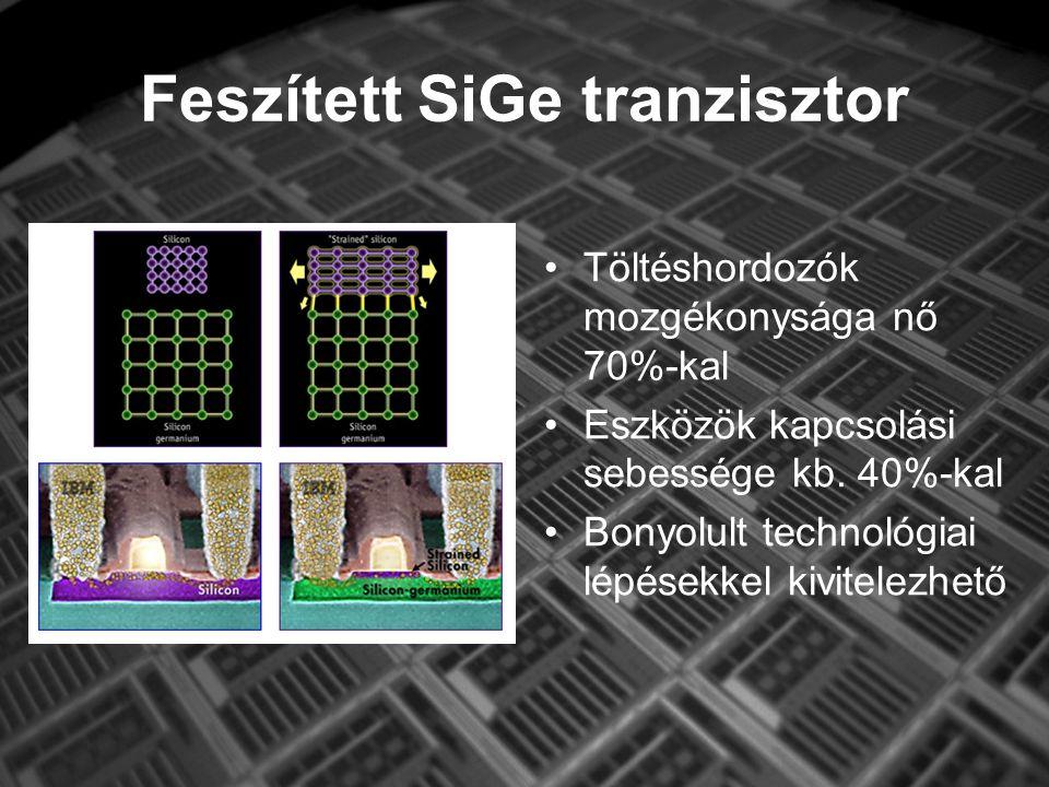Feszített SiGe tranzisztor Töltéshordozók mozgékonysága nő 70%-kal Eszközök kapcsolási sebessége kb.