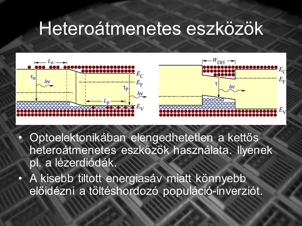 Heteroátmenetes eszközök Optoelektonikában elengedhetetlen a kettős heteroátmenetes eszközök használata.