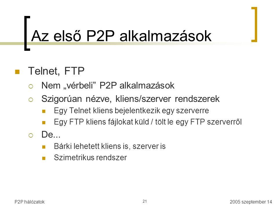 """2005 szeptember 14P2P hálózatok 21 Az első P2P alkalmazások Telnet, FTP  Nem """"vérbeli P2P alkalmazások  Szigorúan nézve, kliens/szerver rendszerek Egy Telnet kliens bejelentkezik egy szerverre Egy FTP kliens fájlokat küld / tölt le egy FTP szerverről  De..."""