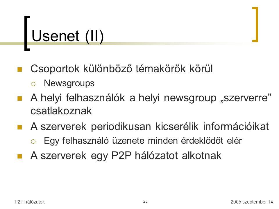 """2005 szeptember 14P2P hálózatok 23 Usenet (II) Csoportok különböző témakörök körül  Newsgroups A helyi felhasználók a helyi newsgroup """"szerverre csatlakoznak A szerverek periodikusan kicserélik információikat  Egy felhasználó üzenete minden érdeklődőt elér A szerverek egy P2P hálózatot alkotnak"""