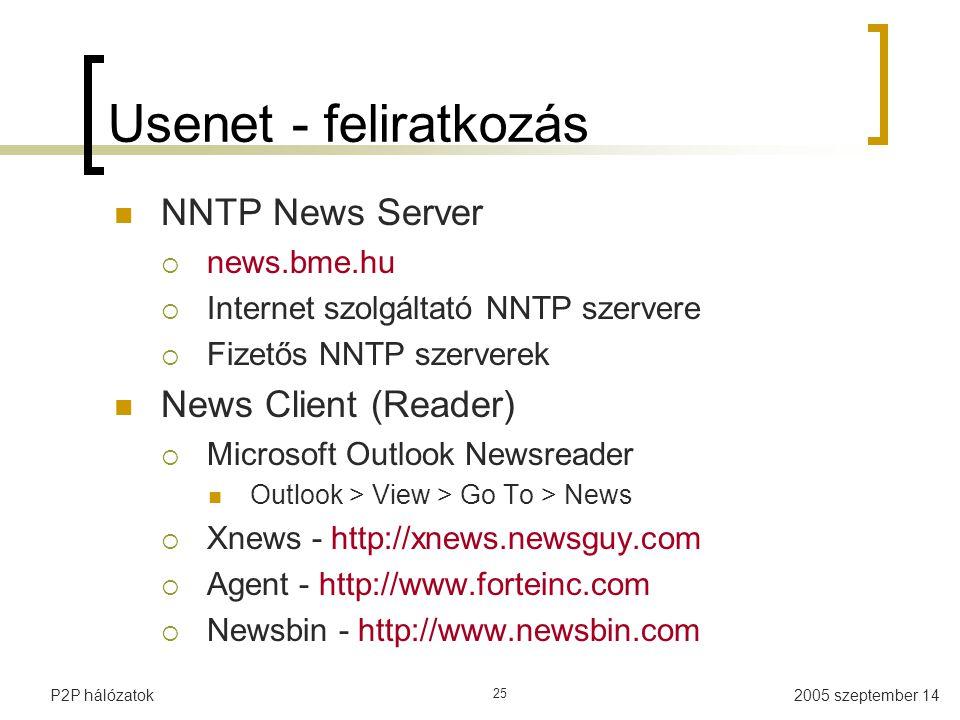 2005 szeptember 14P2P hálózatok 25 Usenet - feliratkozás NNTP News Server  news.bme.hu  Internet szolgáltató NNTP szervere  Fizetős NNTP szerverek News Client (Reader)  Microsoft Outlook Newsreader Outlook > View > Go To > News  Xnews - http://xnews.newsguy.com  Agent - http://www.forteinc.com  Newsbin - http://www.newsbin.com