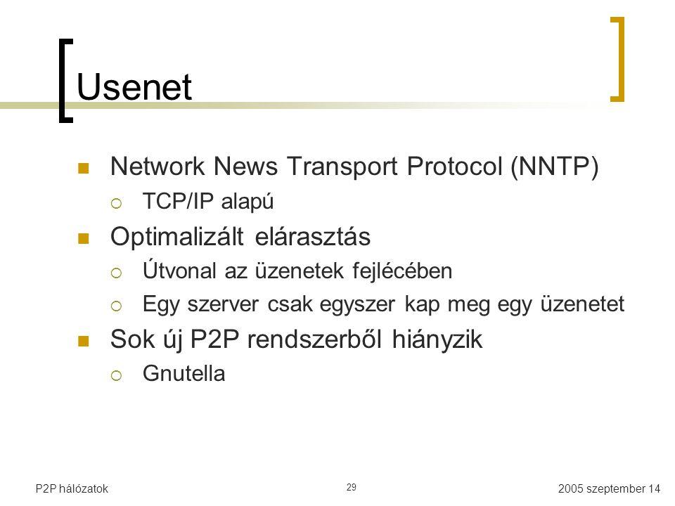 2005 szeptember 14P2P hálózatok 29 Usenet Network News Transport Protocol (NNTP)  TCP/IP alapú Optimalizált elárasztás  Útvonal az üzenetek fejlécében  Egy szerver csak egyszer kap meg egy üzenetet Sok új P2P rendszerből hiányzik  Gnutella
